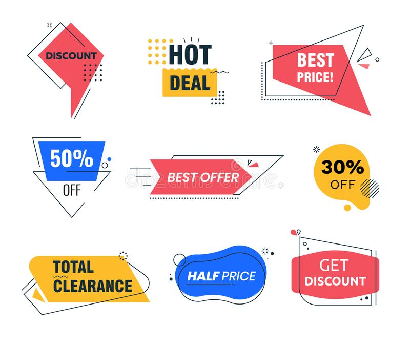 Memphis Style Discount Tags Geometric Shapes and Line Patterns. Social Media Trendy Template for Total Clearance Sale. Memphis Style Discount Tags Colorful vector illustration