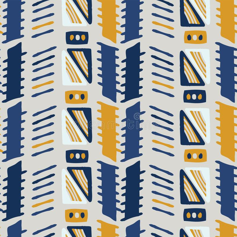Memphis Style Geometric Abstract Seamless Vector Pattern Yellow and Blue royalty free illustration