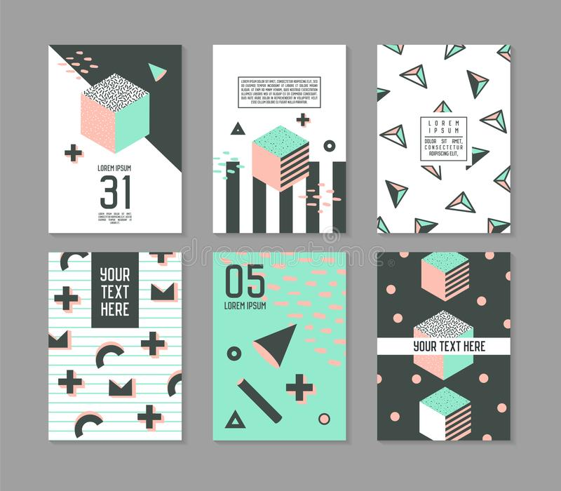 Memphis Style Geometric Elements Poster Templates Set. Abstract Hipster Fashion 80s 90s Cards Brochure Banners with Place for Text. Vector illustration royalty free illustration
