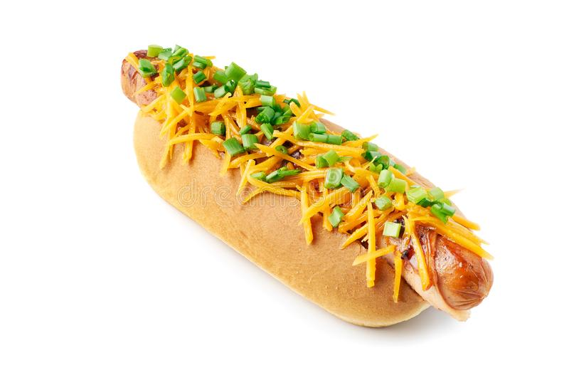 Memphis style hot dog on white background royalty free stock photo