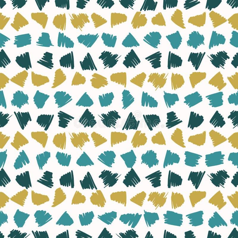 Memphis Style Scribbles Stripes Seamless vektormodell, utdraget klotter för hand stock illustrationer
