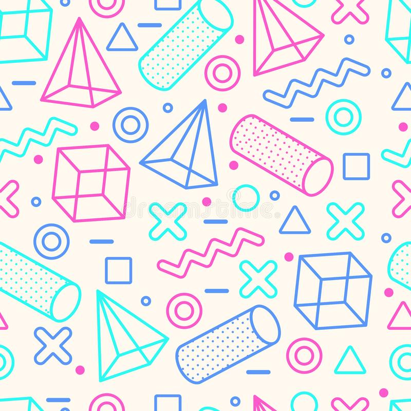 Memphis Style Seamless Pattern abstracto con formas geométricas libre illustration