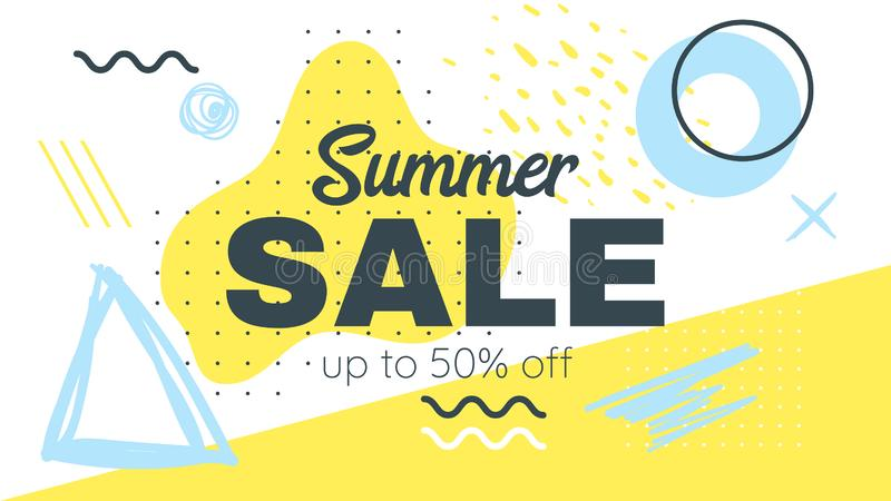 Memphis style summer banner template. Memphis style summer sale banner template with text. Vector illustration. Geometric and abstract liquid shapes. Horizontal vector illustration