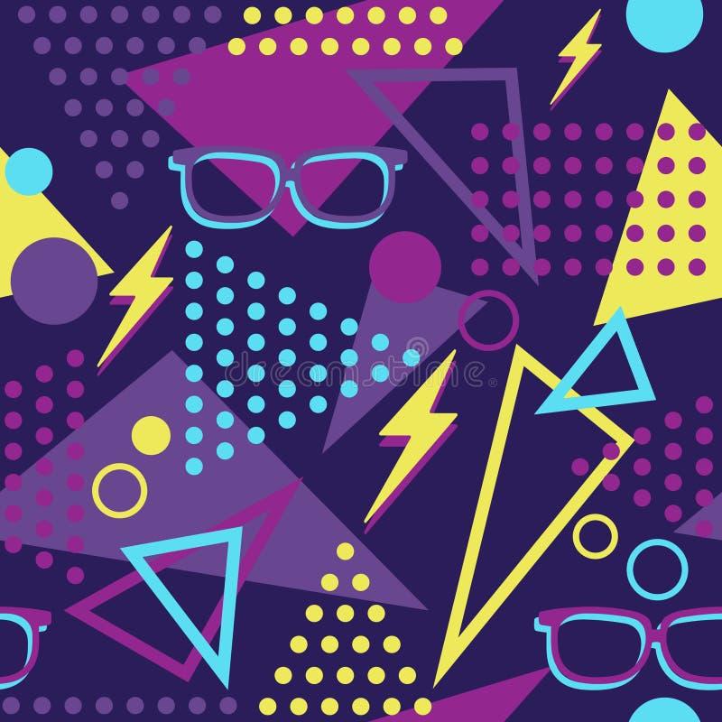 Memphis Style Throwback Glasses vibrante y modelo inconsútil de los pernos del aligeramiento libre illustration