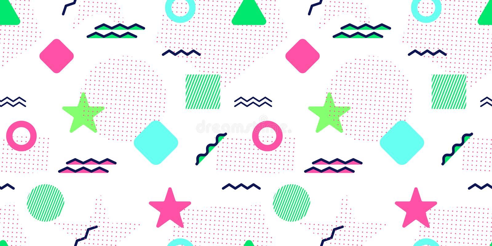 Memphis style vector seamless pattern. Abstract background with trendy geometric elements. Colorful graphic shapes. Modern repeate royalty free illustration