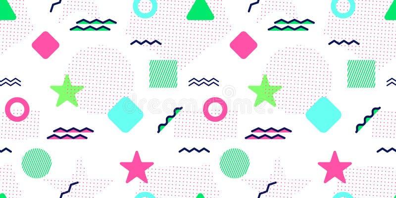 Memphis Style Vector Seamless Pattern Abstracte achtergrond met in geometrische elementen Kleurrijke grafische vormen Moderne rep royalty-vrije illustratie