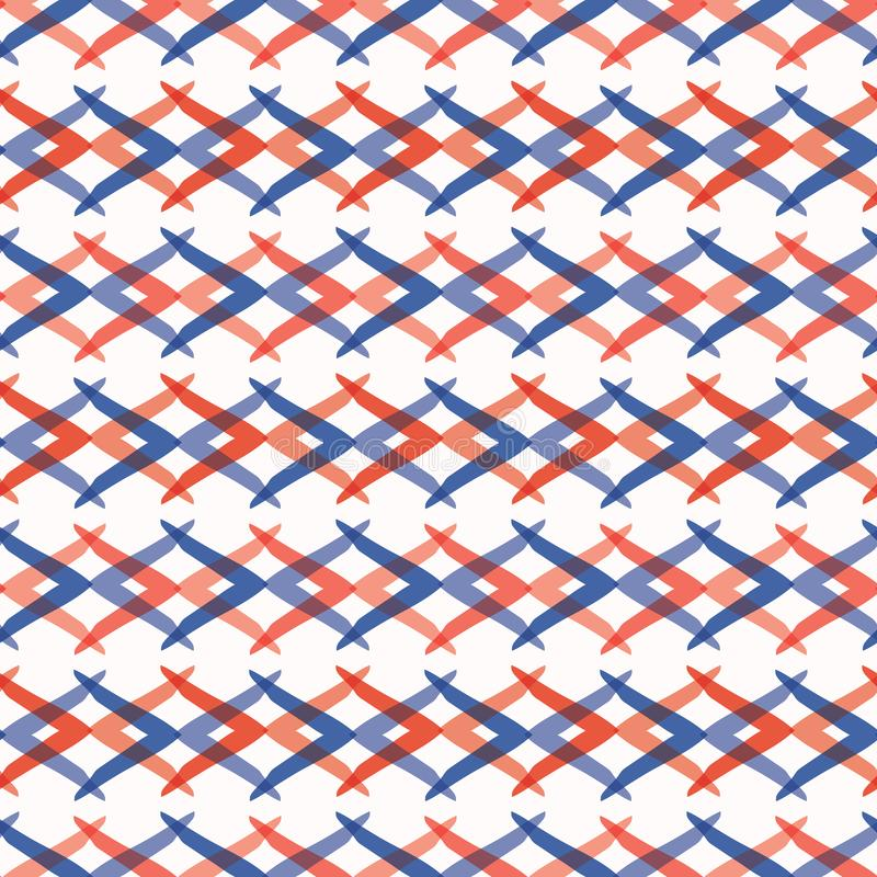 Memphis Style Weave Stripes Seamless vektormodell, utdragna gripa in i varandra linjer för hand stock illustrationer