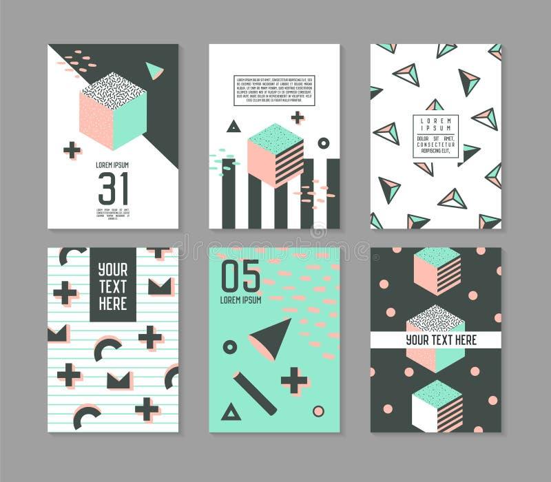 Memphis Stylowych Geometrycznych elementów Plakatowi szablony Ustawiający Abstrakcjonistyczna modniś moda 80s 90s Grępluje broszu royalty ilustracja