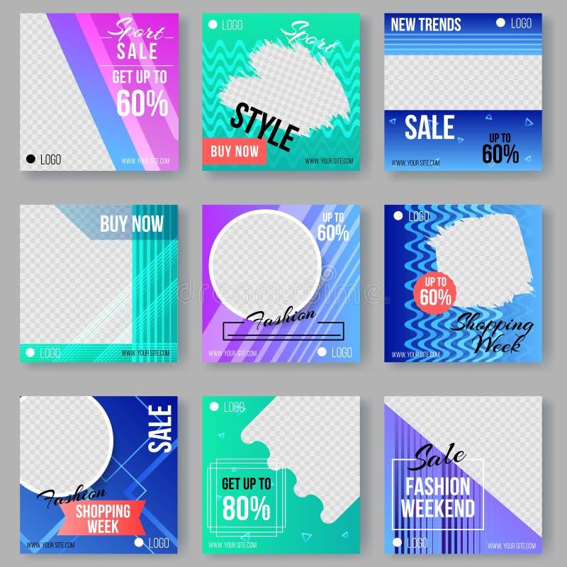 Memphis stylu reklamy pokrywy Ustawiać z Geometrycznymi kształtami ilustracja wektor