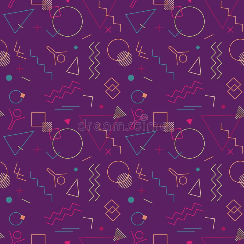 Memphis Swiss style geometrical seamless pattern. Memphis Swiss style seamless pattern. Flat geometric isolated vector pattern. Bright fun decorative design royalty free illustration