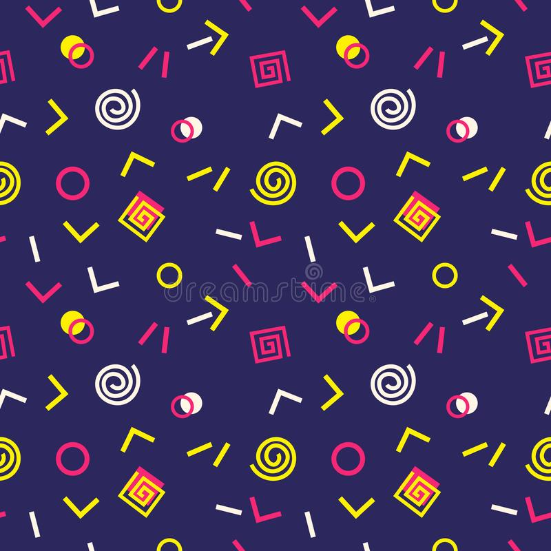 Memphis Swiss style seamless pattern. Flat geometric isolated vector pattern. Bright fun decorative design element. Abstract graphic retro style texture vector illustration