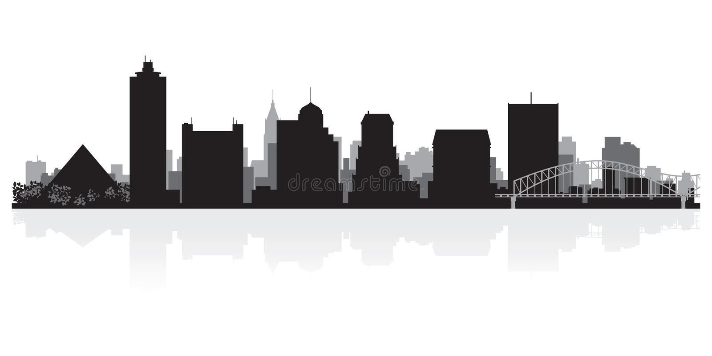 Memphis Tennessee city skyline silhouette. Memphis Tennessee USA city skyline silhouette Background vector illustration royalty free illustration