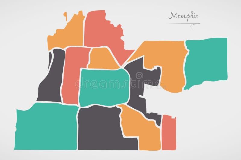 Memphis Tennessee mapa z sąsiedztwami i nowożytnymi round kształtami royalty ilustracja