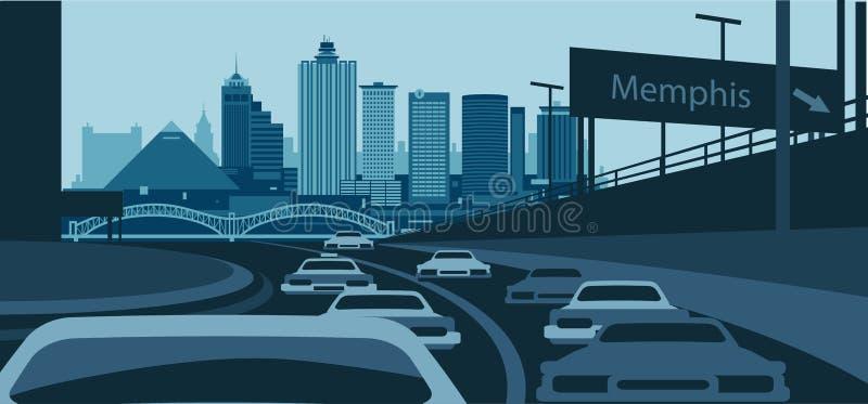 Memphis Tennessee USA urban skyline vector illustration