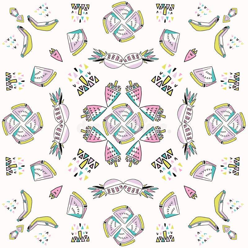 Memphis Tropical Fruit Pattern, Pinapples, banane, anguria Mandala Seamless illustrazione di stock