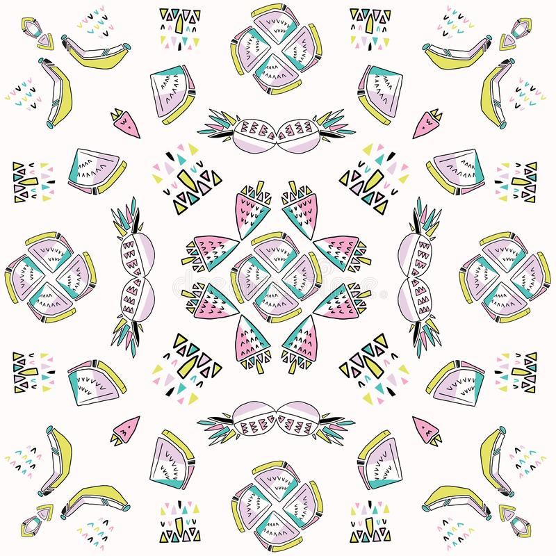 Memphis Tropical Fruit Pattern Pinapples, bananer, vattenmelon Mandala Seamless stock illustrationer