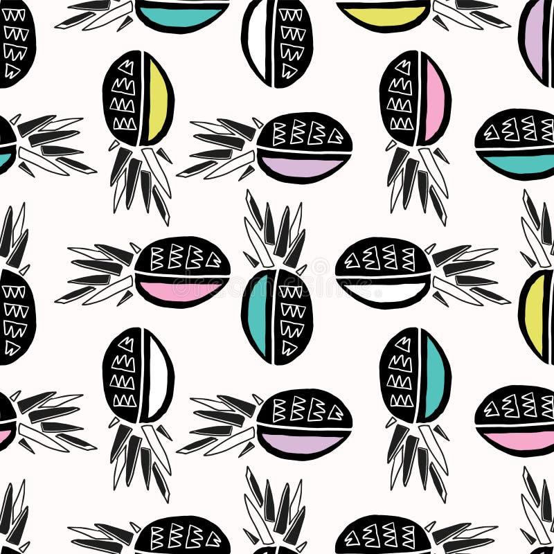 Memphis Tropical Pineapple Fruit Pattern, ilustração sem emenda do fundo do vetor ilustração royalty free