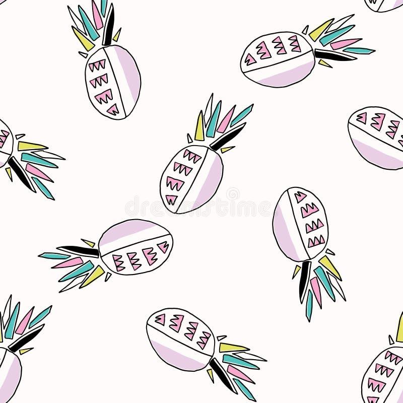Memphis Tropical Pineapple Fruit Pattern, Seamless Vector Background Illustration royalty free illustration