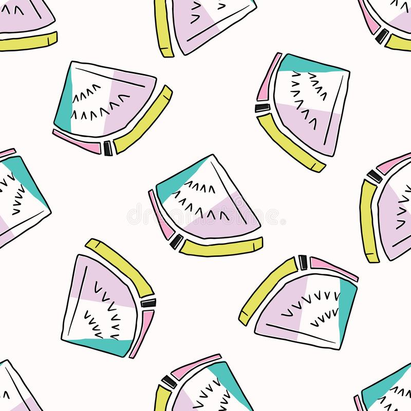 Memphis Tropical Watermelon Pattern sömlös vektorbakgrund royaltyfri illustrationer