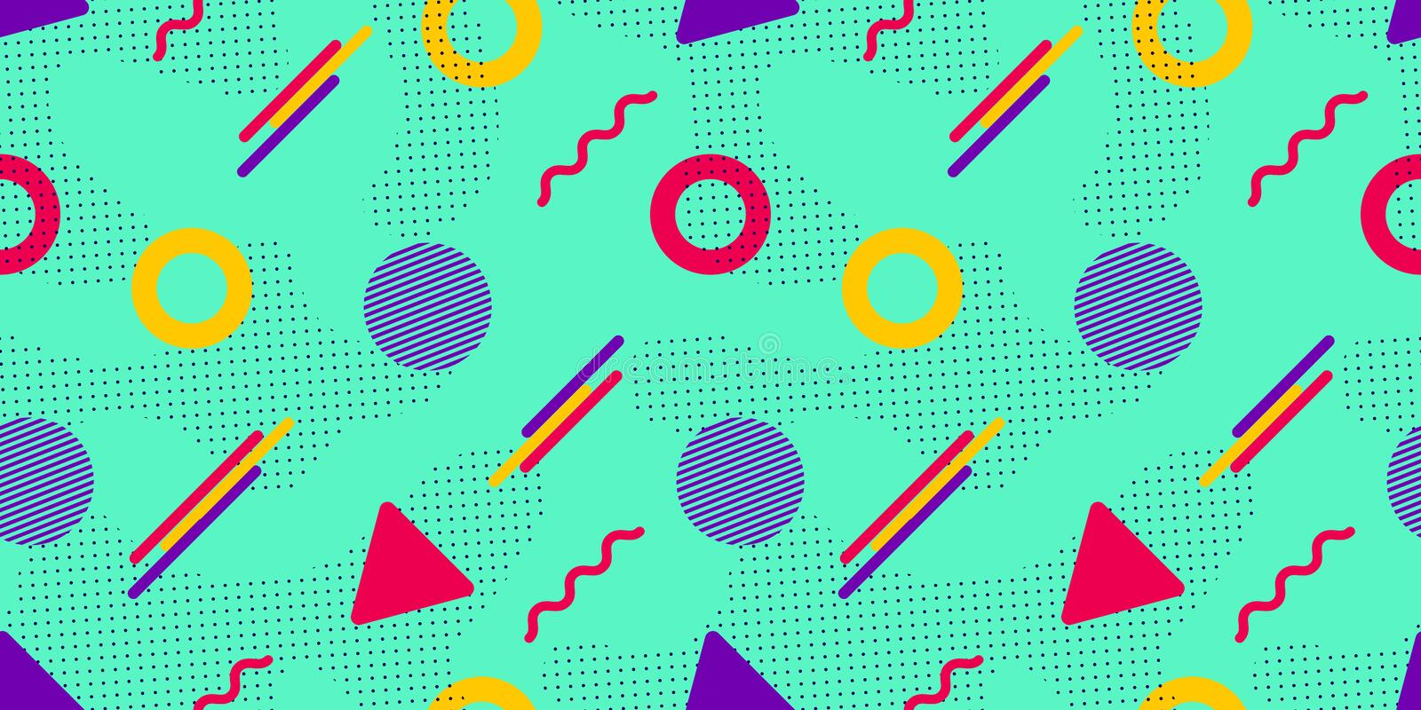 Memphis vector background. Colorful geometric shapes in modern style. Hipster seamless pattern. Trendy repeated texture. Abstract vector illustration