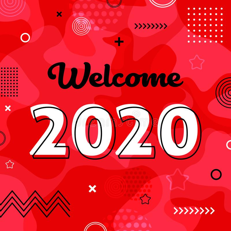 Memphis Welcome 2020 greeting card vector illustration