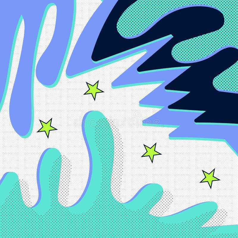 Memphis wzór retro rocznika 80s lub 90s styl Memphis abstrakcjonistyczny bezszwowy deseniowy tło Wystrzału styl dla tkaniny ilustracji