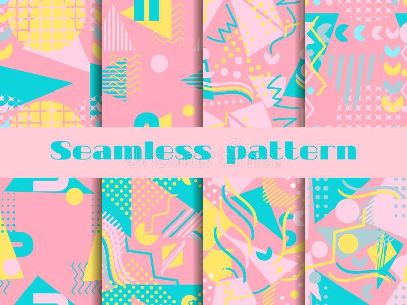 Memphis wzoru bezszwowy set Geometryczni elementy Memphis w stylu 80 s ` Samotny marznący drzewo wektor ilustracja wektor