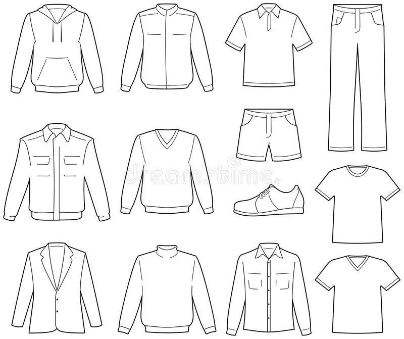 Men's casual clothes illustration royalty free illustration