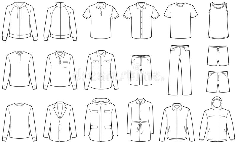 Men's clothes vector illustrations royalty free illustration
