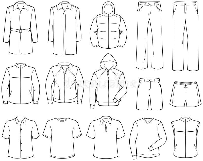 Menâs beiläufige Kleidung und Sportkleidung lizenzfreie abbildung