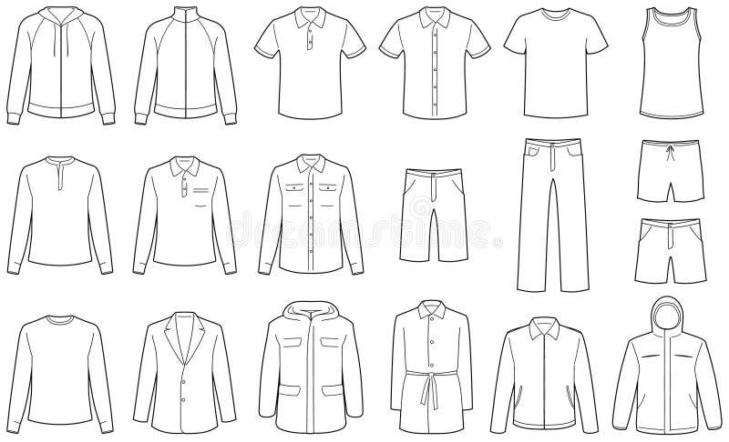 Menâs kleidet vektorabbildungen lizenzfreie abbildung