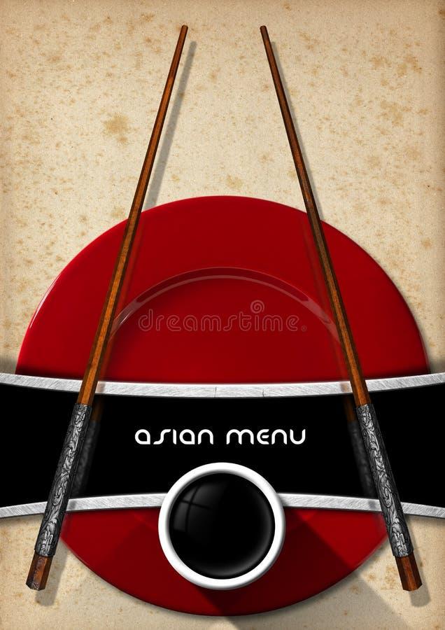 Menú asiático con los palillos de madera libre illustration