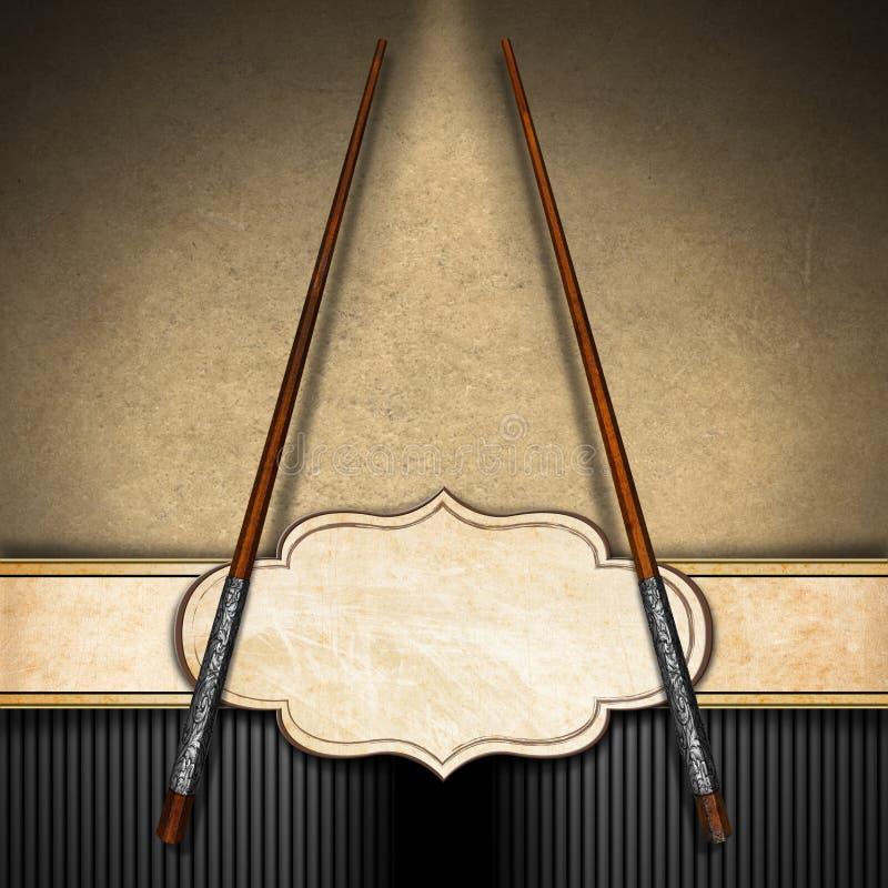 Menú asiático con los palillos de madera stock de ilustración