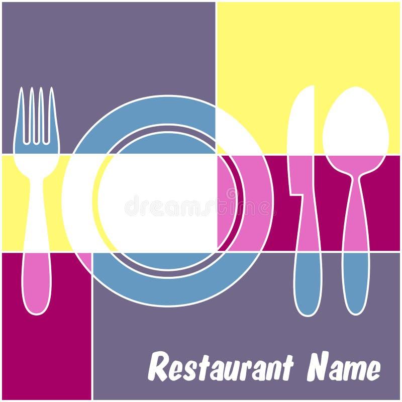 Menú colorido del restaurante stock de ilustración