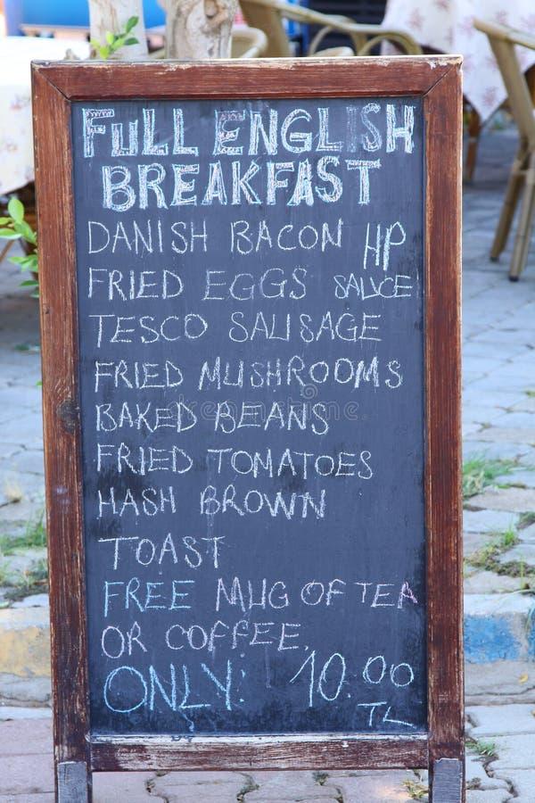 Menú completo del desayuno inglés imagen de archivo