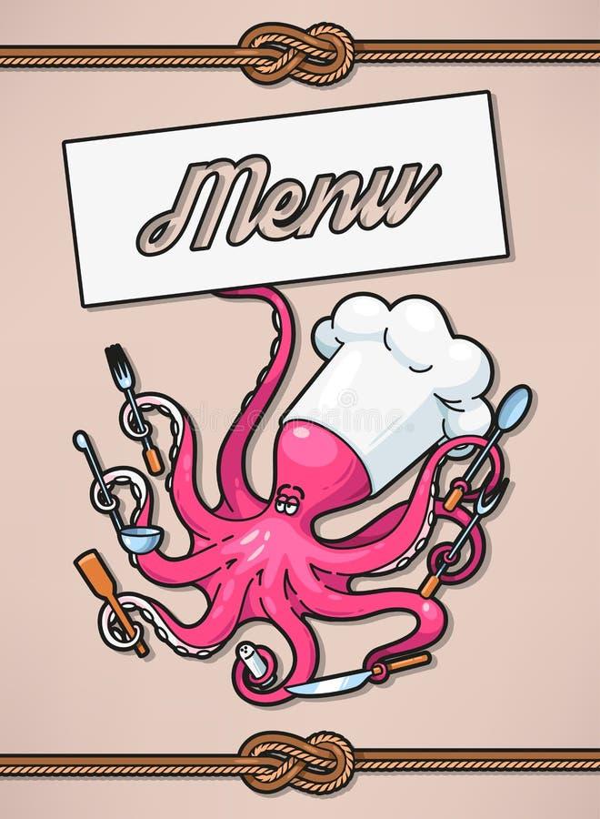 Menú con el pulpo ilustración del vector