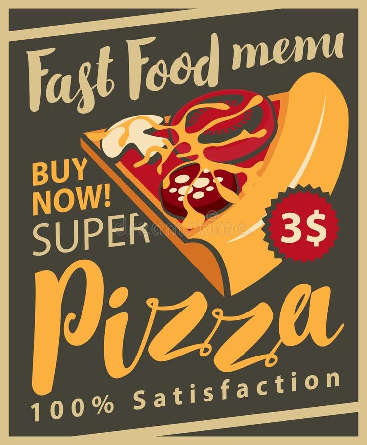 Menú con la rebanada de pizza ilustración del vector