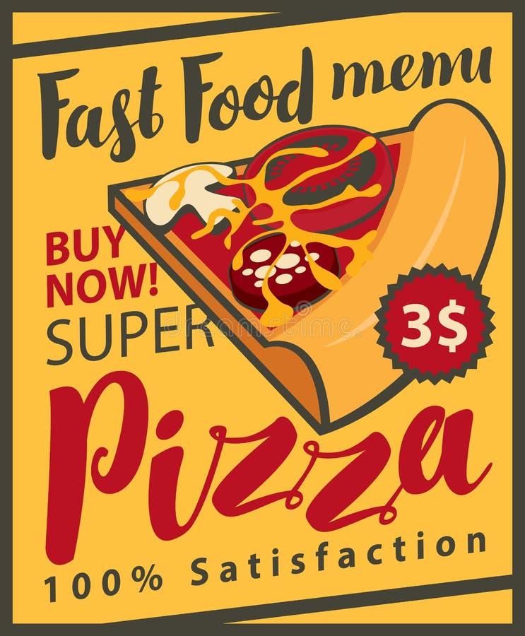 Menú con la rebanada de pizza libre illustration