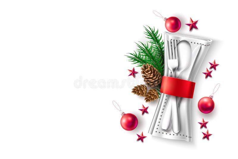 Menú 3d del café del restauran del día de fiesta de la Navidad del vector stock de ilustración