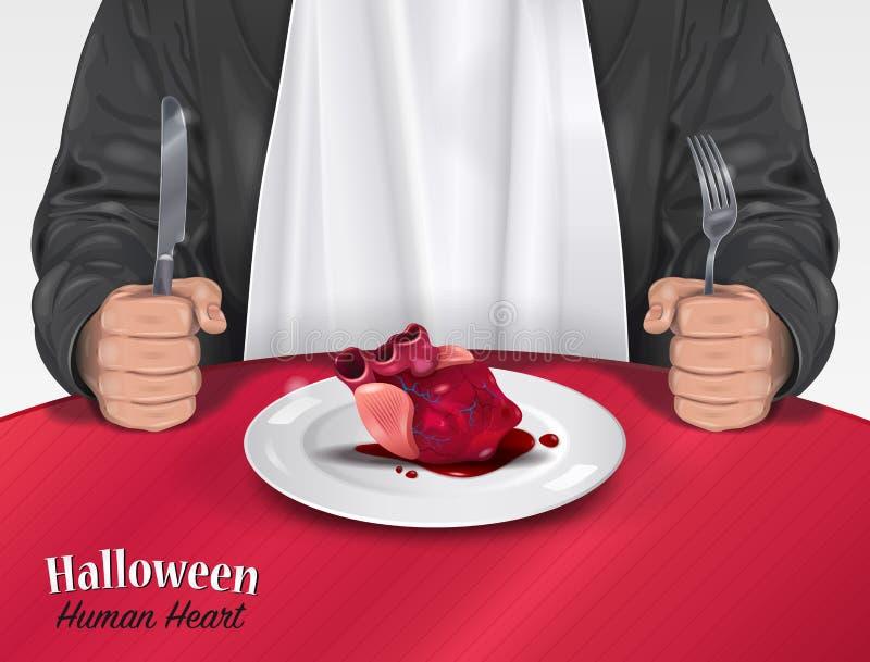 Menú de Halloween - corazón humano ilustración del vector
