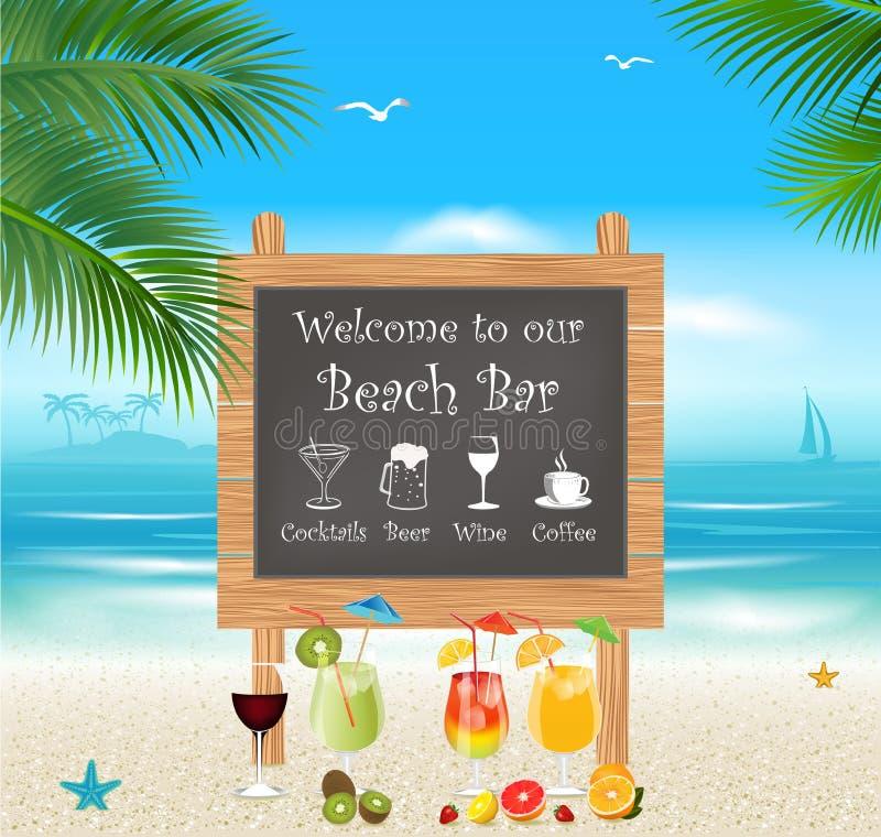 Menú de la barra de la playa stock de ilustración