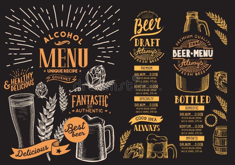 Menú de la cerveza para el restaurante Plantilla del diseño con graphi a mano libre illustration