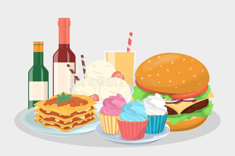 Men? de la comida para el partido Bocado delicioso stock de ilustración