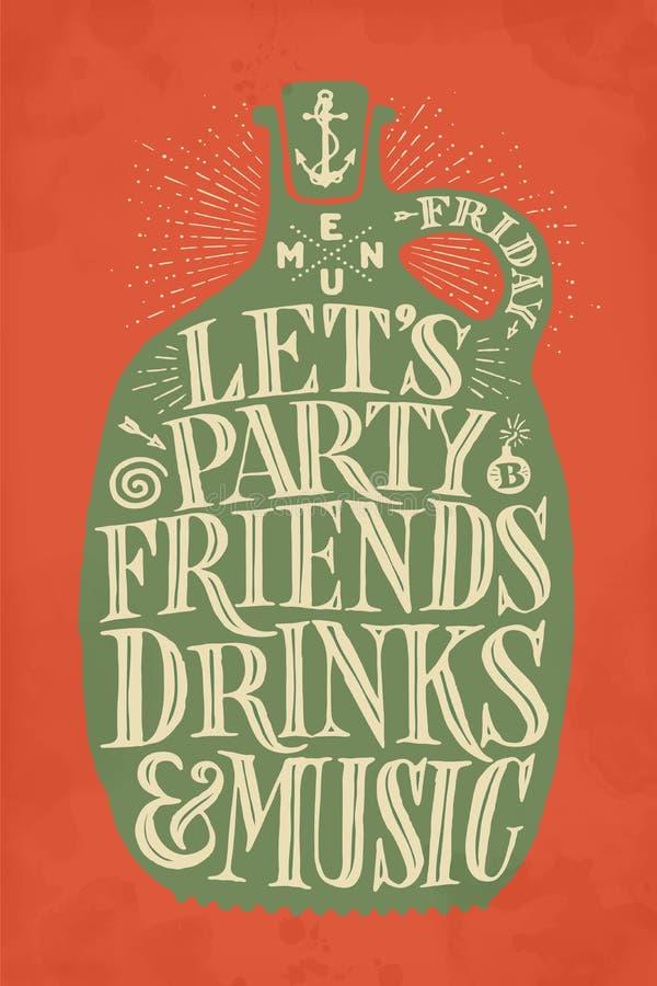Menú de la cubierta del dibujo del vintage para el pub, la barra, el café y el restaurante libre illustration