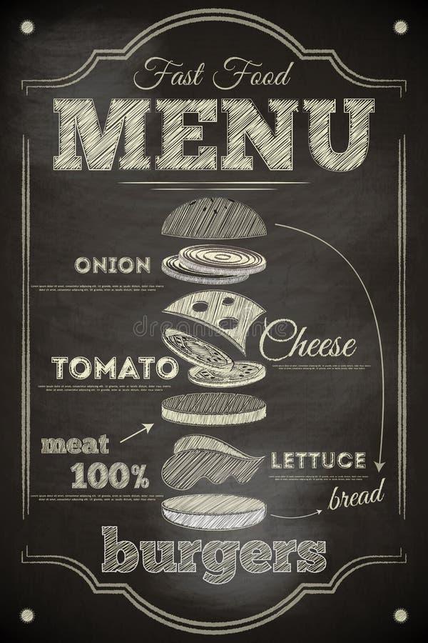 Menú de la hamburguesa ilustración del vector