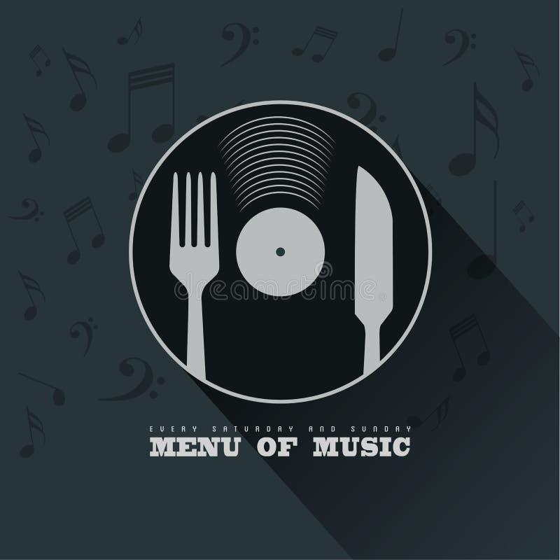 Menú de la música con concepto del fondo del vinilo, del cuchillo, de la bifurcación y de las notas musicales ilustración del vector