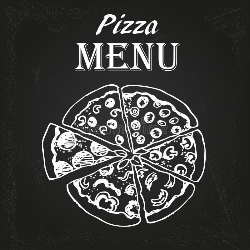 Menú 3 de la pizza ilustración del vector
