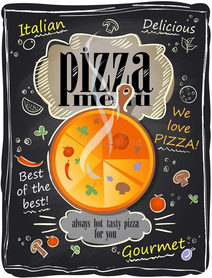 Menú de la pizza de la tiza del vintage. ilustración del vector