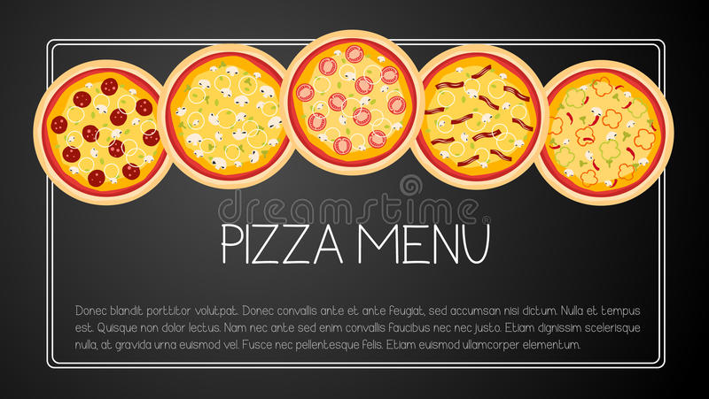 Menú de la tarjeta de la pizza stock de ilustración
