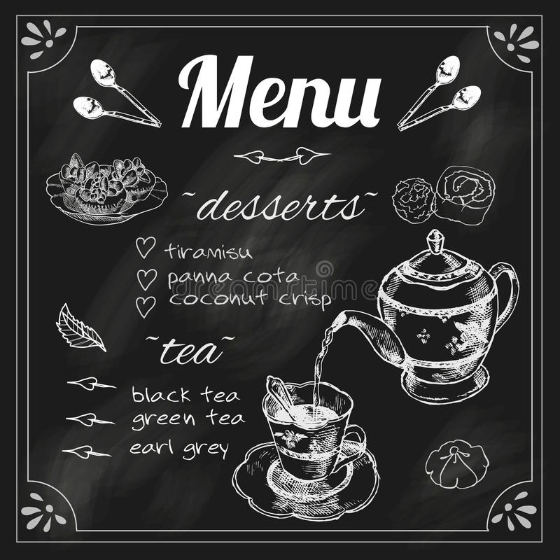 Menú de la tetera y de la pizarra de la taza de té ilustración del vector